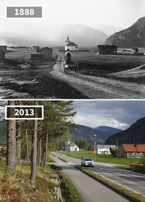 Удивительно, но маленькая церквушка сохранилась, а вдоль дороги выросли столь необходимые для Норвегии деревья.