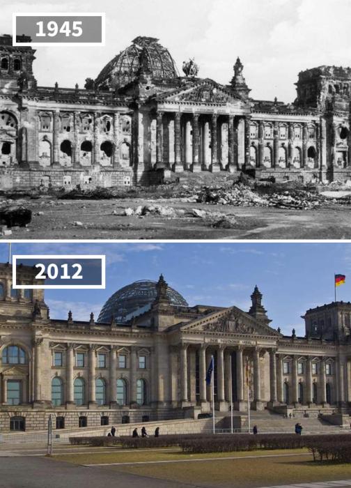 После широкомасштабной реставрации главный символ единой Германии приобрел уникальную деталь в виде стеклянного купола.