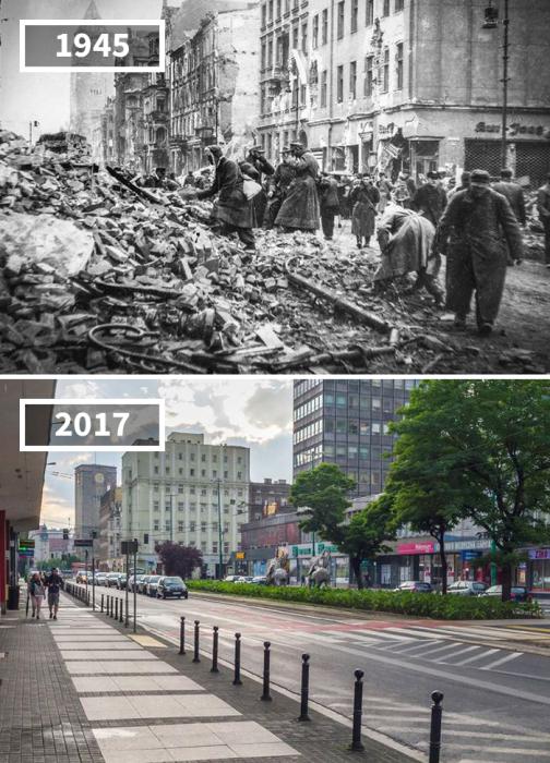 Асфальтированная улица с современными высотными зданиями заменила руины, оставшиеся после Второй мировой войны.