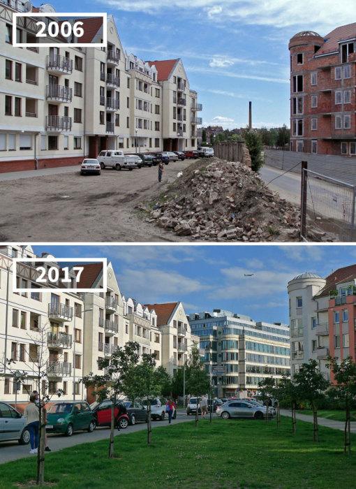 Улица Чиперска за 11 лет приобрела более уютный и нарядный вид благодаря зеленому газону и молодым деревьям.