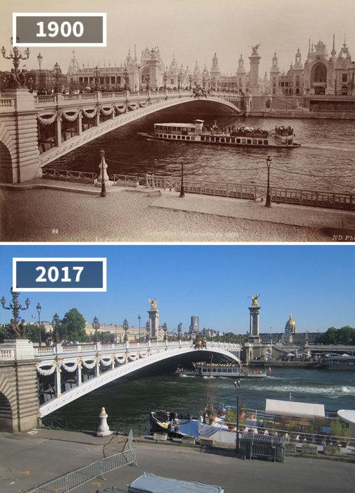 На фотографии 1900 года город выглядит более нарядным и оживленным.