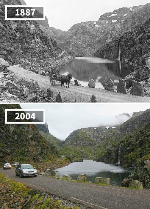 Колоритные Норвежские горы и озеро остались такими же красивыми, а вот грунтовую дорогу заменил асфальт, да и «кони» стали железными.