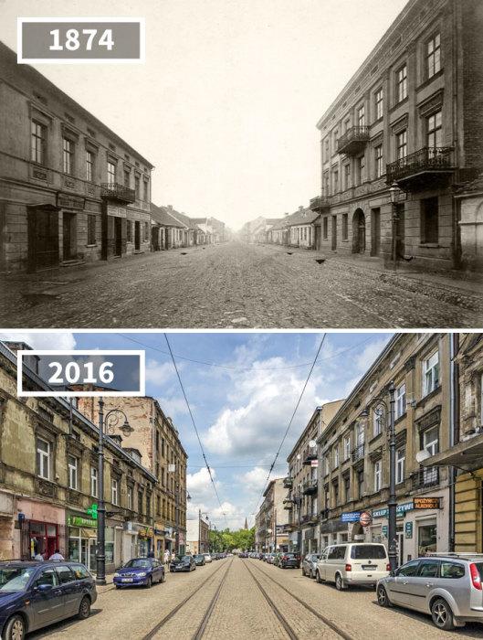На Новоместской улице сохранились старинные здания, но появилось электричество, и были проложены трамвайные пути.