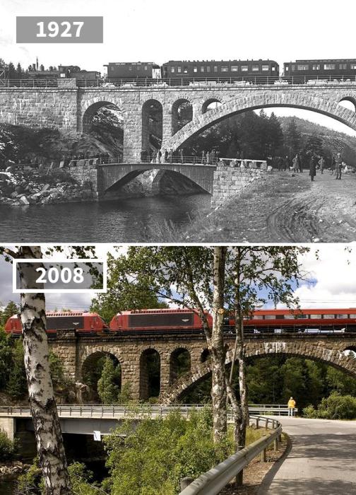 Спустя 81 год по железнодорожному мосту все также проносятся поезда, а вот грунтовая дорога теперь покрыта асфальтом, да и мост через реку теперь выглядит более прочным.