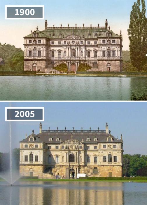 Дворец в стиле барокко практически не изменился, только вместо большого старого дерева осталось пустое место.