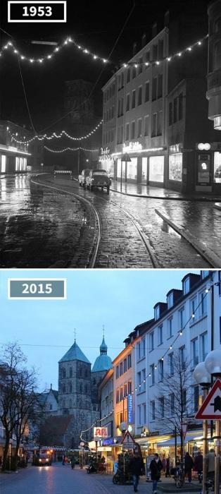 Исчезли трамвайные пути, и улица стала более оживленной, но все же уютная атмосфера прошлого сохранилась.