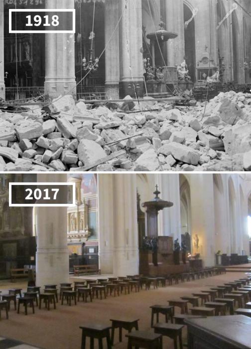 Старинная церковь святых Гервасия и Протасия, пострадавшая во время Первой мировой войны от сверхдальней «Парижской пушки», была полностью восстановлена.