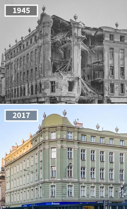 Разрушенное во время войны здание на углу улиц Ратайчака и Святого Мартина успешно восстановили.