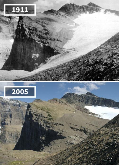 Всего за каких-то неполных 100 лет ледник, который находится в Национальном парке штата Монтана, значительно уменьшил свою площадь.