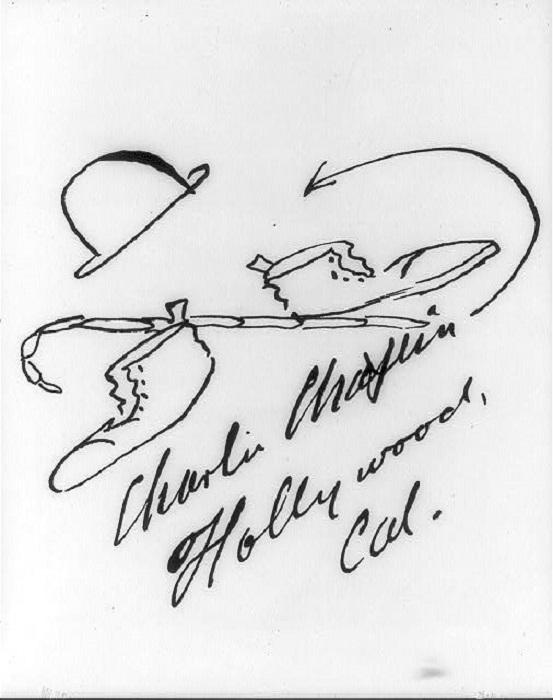 Английский киноактер и мастер кинематографа частенько добавлял к своим автографам небольшие рисунки.