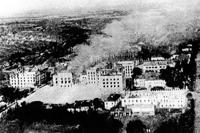 Вид на город в день освобождения от немецко-фашистских захватчиков.