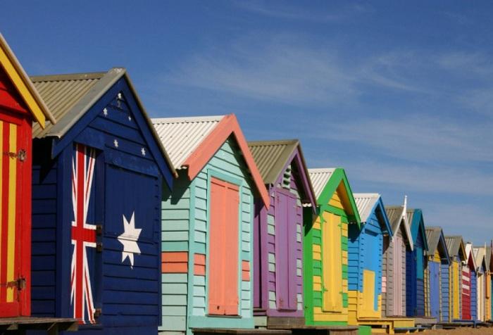 Восхитительные домики для отдыха на пляже австралийского Мельбурна.