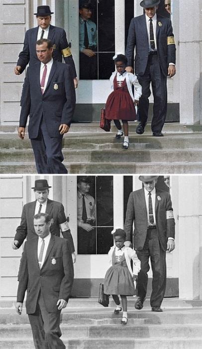 Первый и единственный афроамериканский ребёнок, который начал посещать начальную школу Уильяма Франца для белых в Новом Орлеане в сопровождении маршалов. 1960 год.