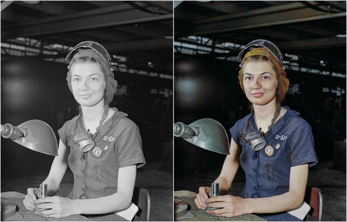 21-летняя девушка Юнис Хэнкок на авиазаводе во время Второй мировой войны. Август 1942 год.