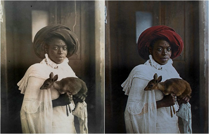 Кенийская женщина с олененком из Момбаса. 1909 год.