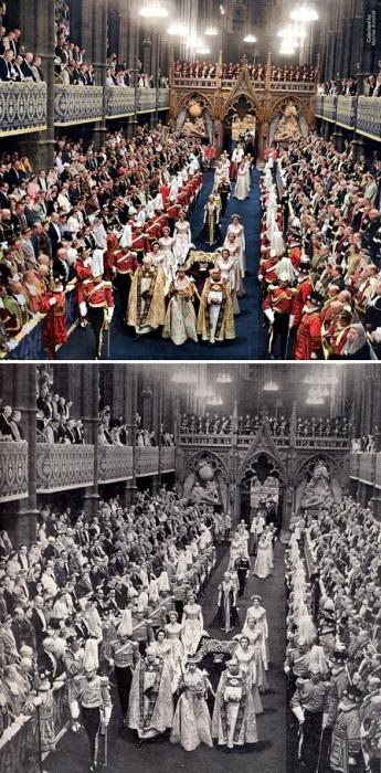 Пышная церемония коронации в Вестминстерском аббатстве состоялась в присутствии 8200 почетных гостей. 2 июня 1953 года.