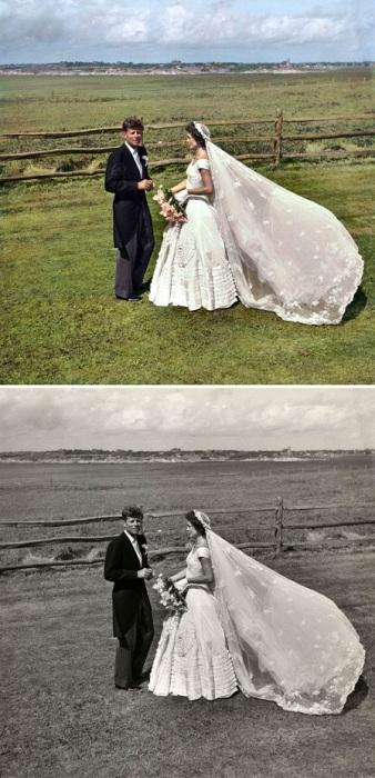 Жаклин Кеннеди и Джон Кеннеди в день своей свадьбы. 12 сентября 1953 года.