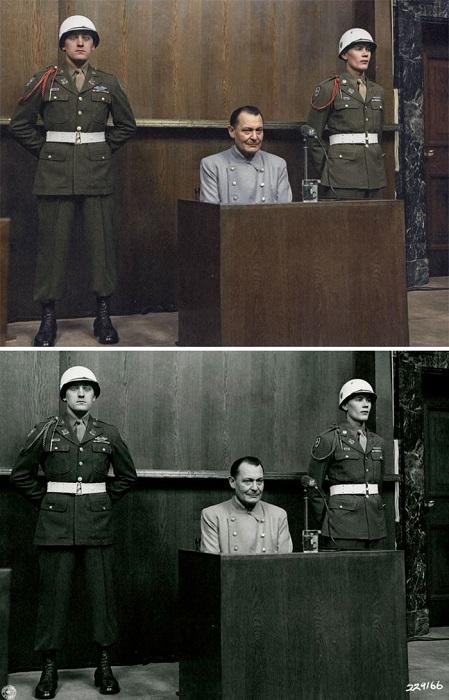 Подсудимый Геринг на международном военном трибунале по делу военных преступников в Нюрнберге признан виновным и приговорён к смертной казни через повешение, но накануне казни покончил жизнь самоубийством. 1946 год.