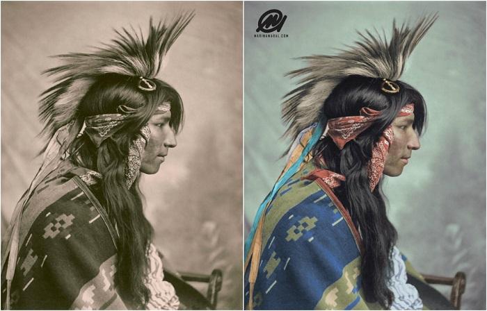 Снимок индейца с накидкой или пончо на плечах, сделанный вполоборота. Канада, 1903 год.