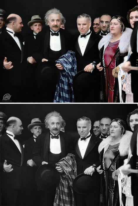 Встреча Альберта Эйнштейна и Чарли Чаплина в кинотеатре на премьере фильма «Огни большого города».