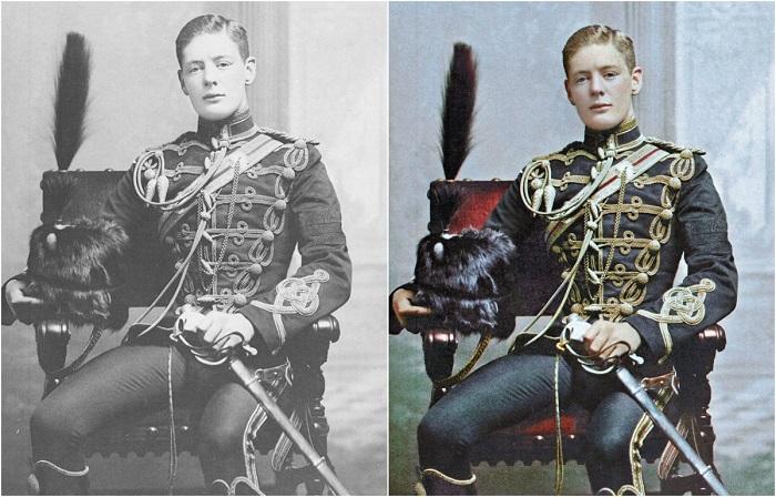 Уинстон Черчилль в форме корнета 4-го Гусарского полка, 1895 год.