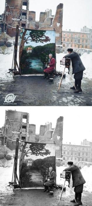 Съемка портрета на разрушенных улицах Варшавы, Польша. Ноябрь 1946 года.
