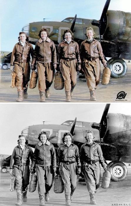 Женщины-пилоты после удачной посадки в авиашколе на аэродроме Локборн в Огайо. 1944 год.