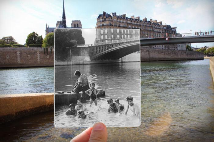 Прекрасный вид на Сену, мост Турнель и собор Нотр-Дамм.