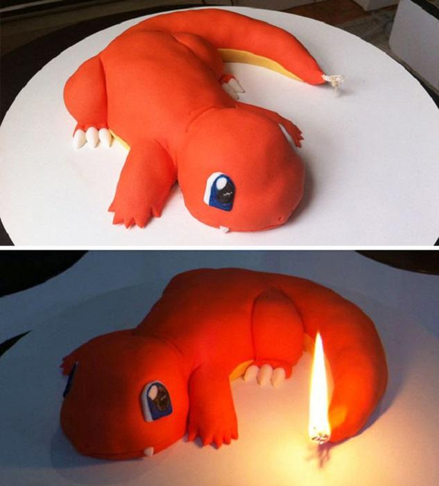 Торт «Чармандер» представляет собой рептилию красновато-оранжевого цвета.
