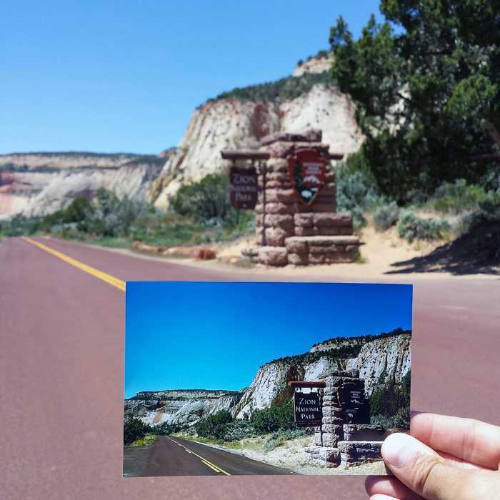 Национальный парк США в штате Юта. Сентябрь 1974 и май 2016 года.