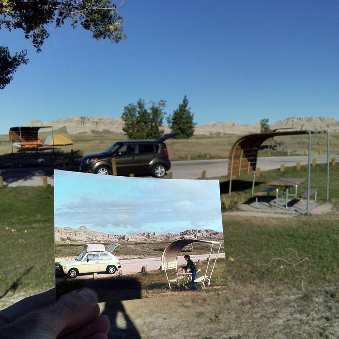 Парк США, расположенный на юго-западе штат Южная Дакота. 1973 и 2013 годы.