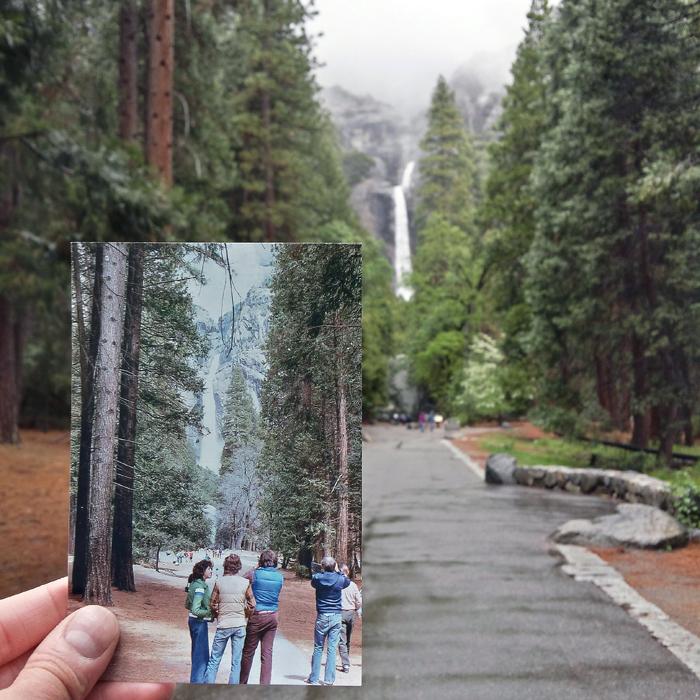 Самый высокий водопад в Северной Америке. Апрель 1979 и май 2015 года.