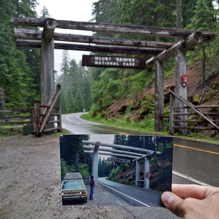 Вход в национальный парк, Гора Ренье, штат Вашингтон. Июнь 1981 и июнь 2016 года.