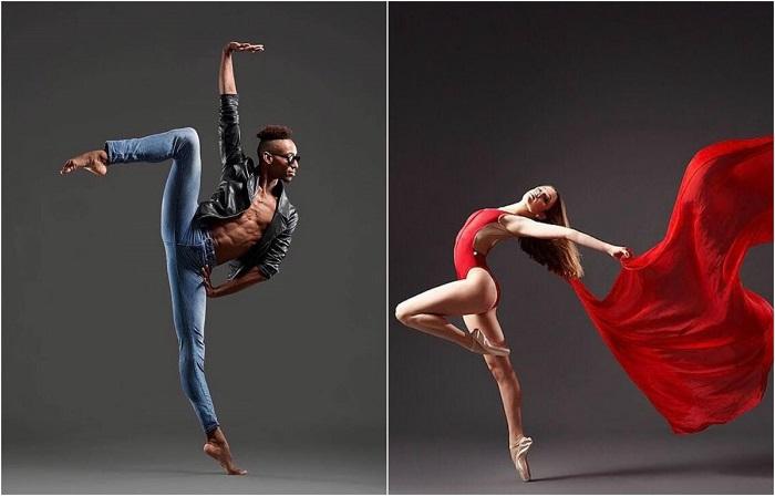 Концептуальные фотографии танцоров балета.