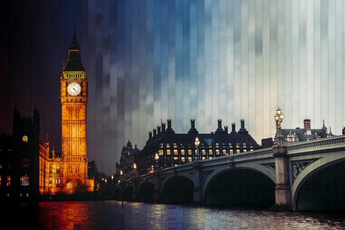Лондон: коллаж из 48 фотографий, снятых каждый 1 час 36 минут.