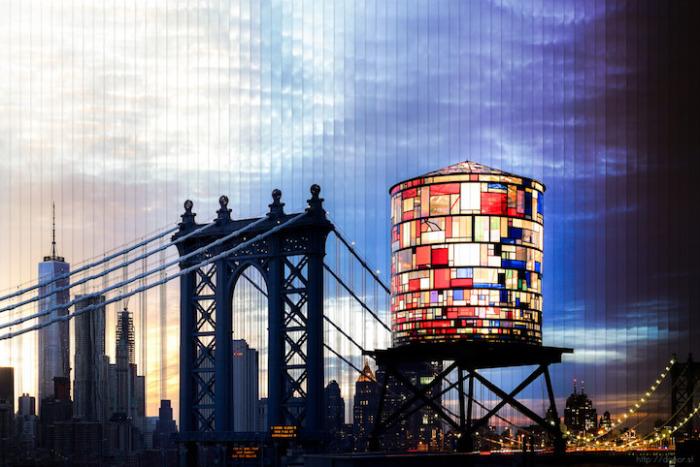 Нью - Йорк: коллаж из 70 фотографий, снятых каждые 2 часа 10 минут.
