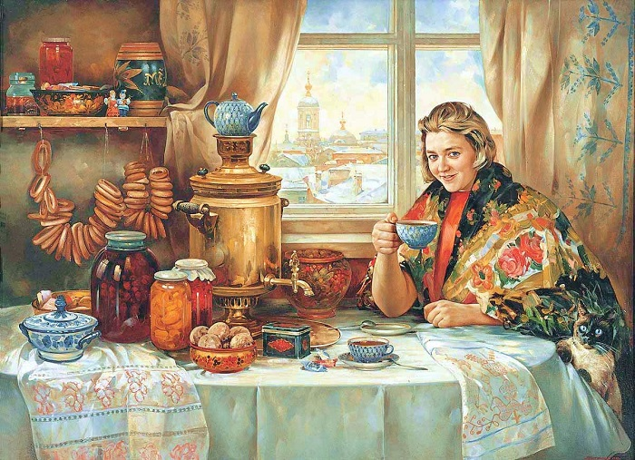 Молодая особа за накрытым столом попивает чаек. | Фото: playcast.ru.