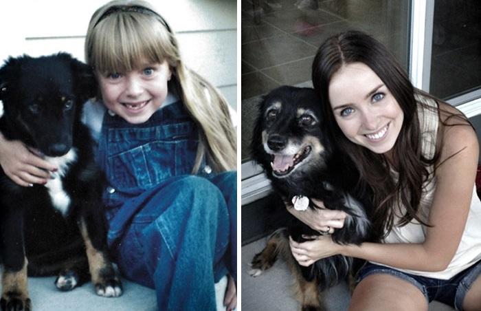 Собаки, которые выросли вместе со своими владельцами.