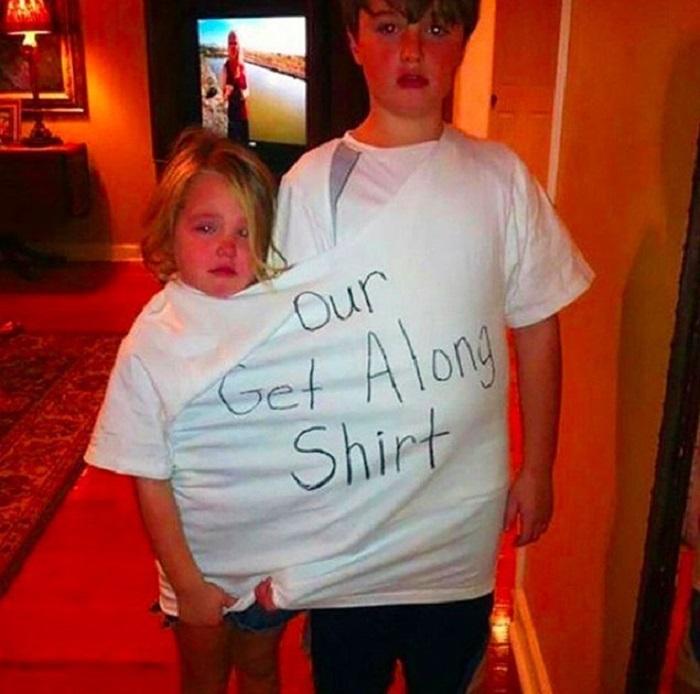 Папа нашел отличное применение для своей любимой футболки.