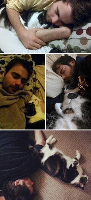 «Где бы мой муж ни устроился спать, наша кошка всегда засыпает рядом».