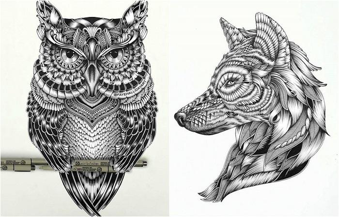 Детализированные рисунки животных из узоров.