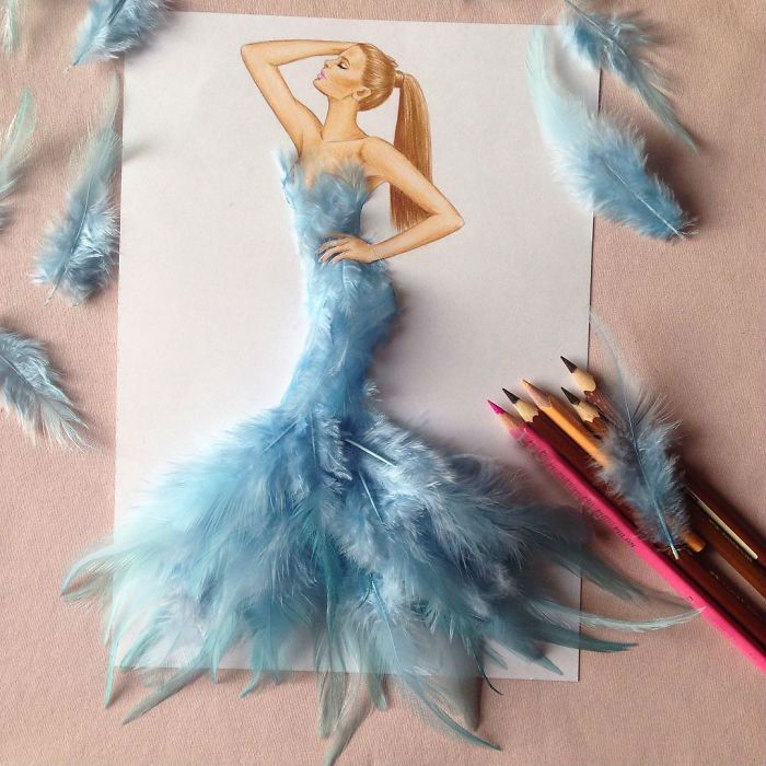 Рисунок перьев на платье