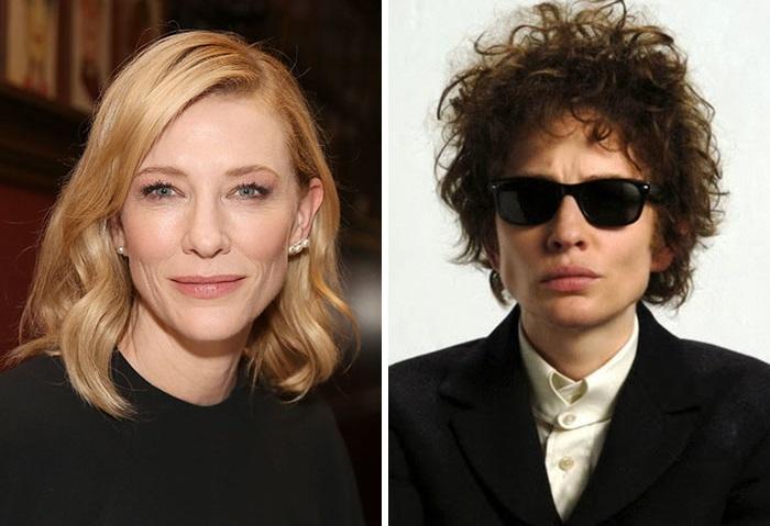 Австралийскую актрису загримировали так, что она была как две капли воды похожа на Боба Дилана, роль которого Кейт сыграла в фильме «Меня там нет».
