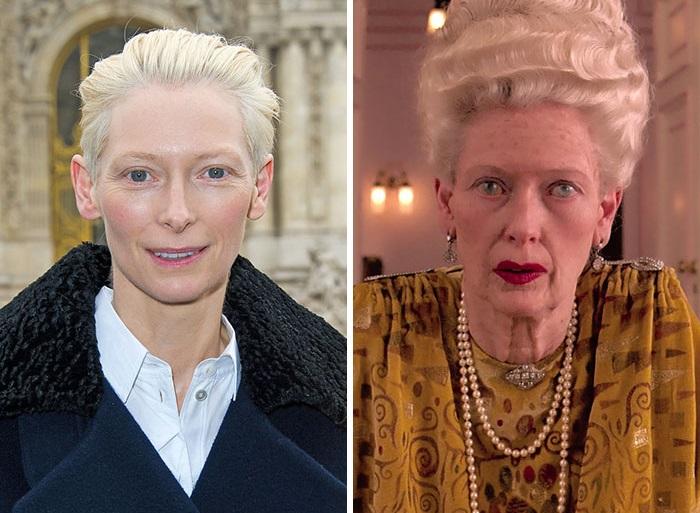 Британская актриса совершенно неузнаваема в гриме, который пришлось наложить для съемок в фильме «Отель «Гранд Будапешт», где Тильда сыграла роль пожилой мадам Д.