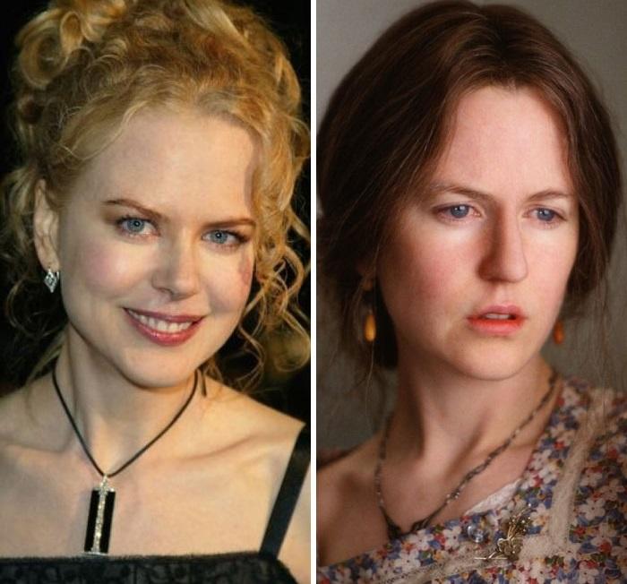 Австралийскую актрису приходилось часами гримировать для фильма «Часы», чтобы добиться портретного сходства с главной героиней Вирджинией Вулф.