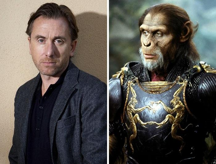 Британский актер совершенно неузнаваем в роли яростного шимпанзе генерала Тейда в фильме «Планета обезьян», а с помощью уникального грима актер даже смог выражать эмоции мимикой.