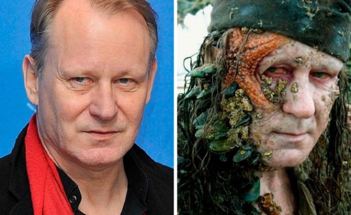 Шведского актера полностью скрыл невероятный грим в фильме «Пираты Карибского моря: На краю света», где он сыграл роль Прихлопа Билла Тернера.