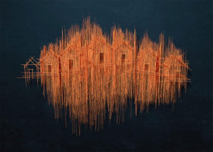Из проволоки художник создает скульптуры с эффектом карандашных набросков.