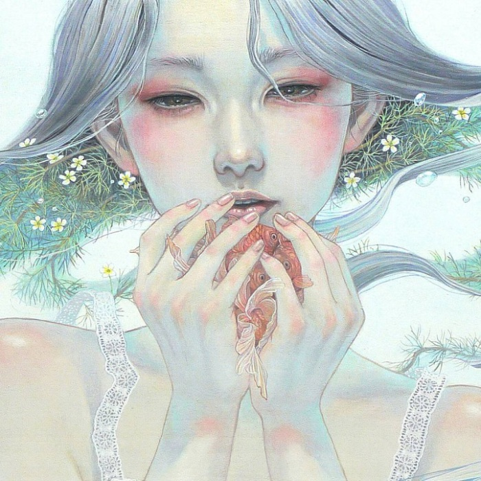 Картина написана в традиционном японском стиле.