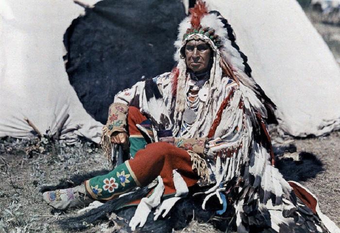 Индейская резервация, Монтана, фотограф Эдвин Wisherd, 1927 год.